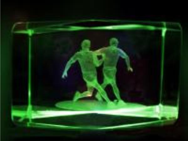 3D Fußballer im Glasblock