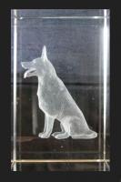 3D Schäferhund im Glasblock