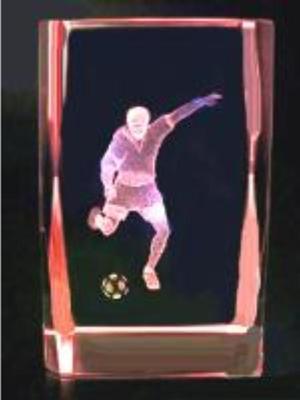 3D Torschütze im Glasblock